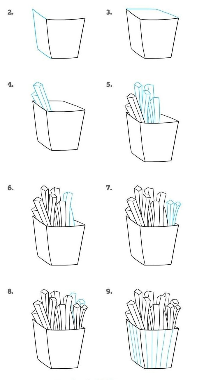 How to Draw Cartoon French Fries Step by Step
