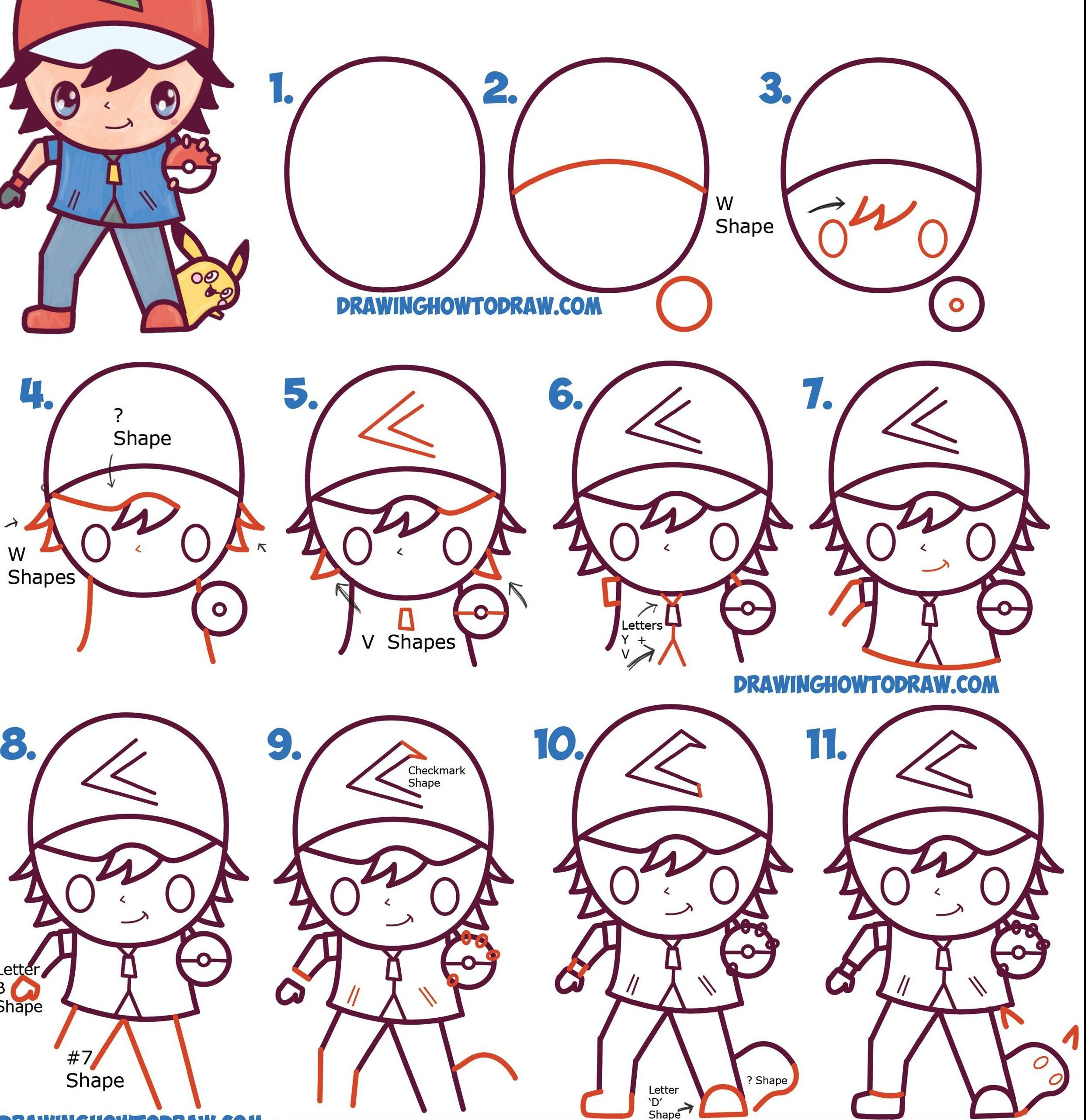 how to draw ash ketchum and pikachu step by step
