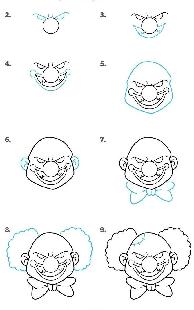 How to Draw a Scary Clown Step by Step Easy