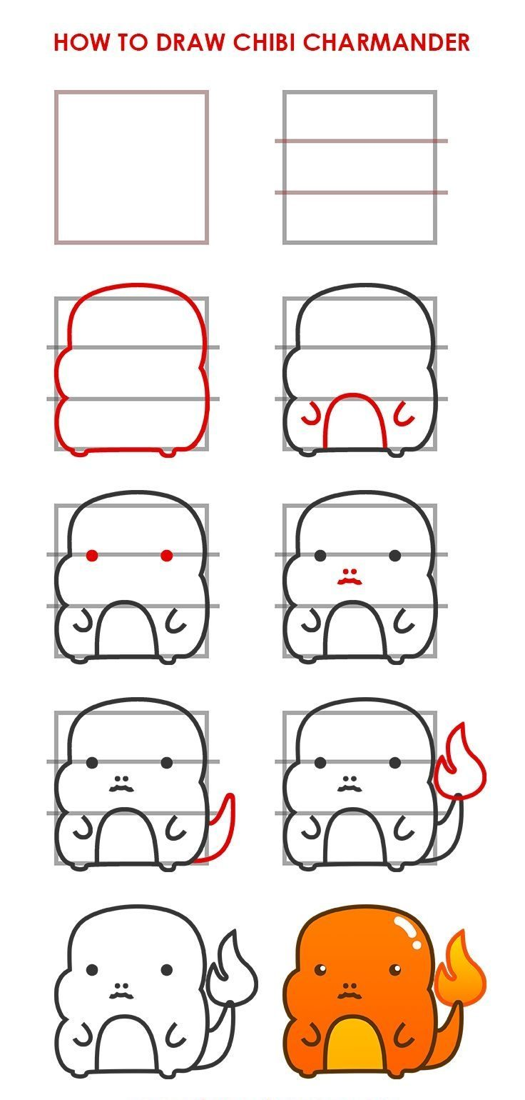 Cute Easy Drawing Chibi Charmander Step by Step