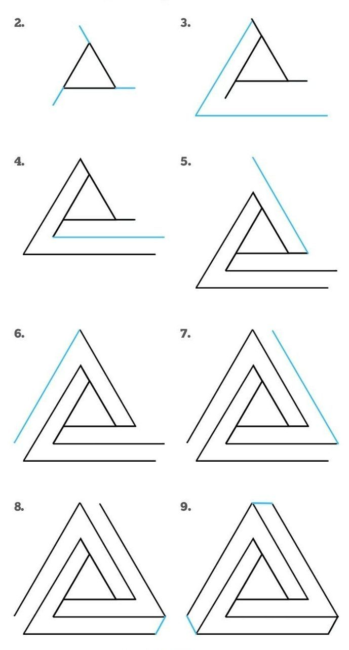 How to Draw Impossible Triangle Step by Step