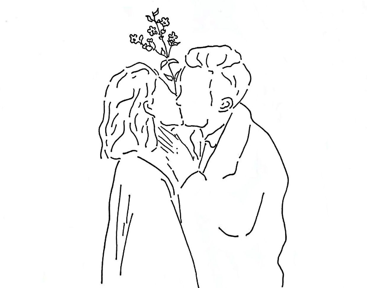 First Kiss Couple Kiss Drawing