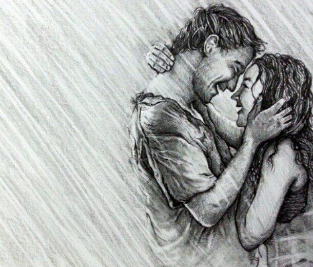 Romantic Sketch of Couple in Rain