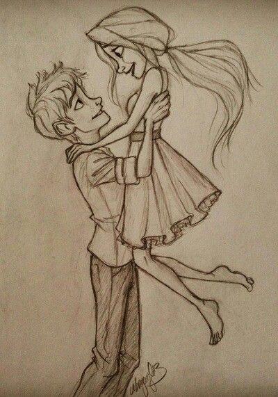 Romantic Couple Hugging Drawing Cartoon