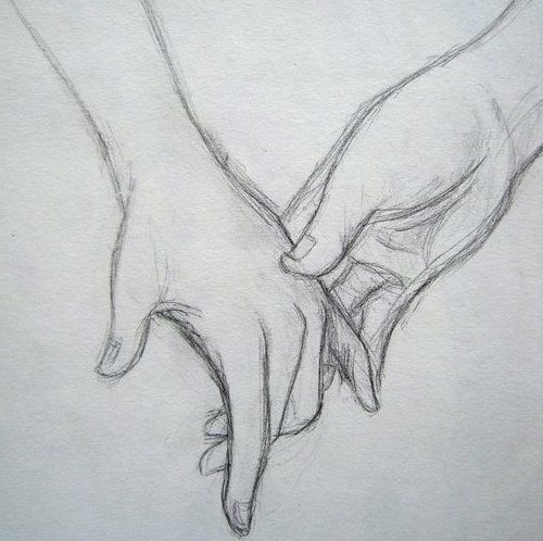 Romantic Couple Holding Hands Drawing