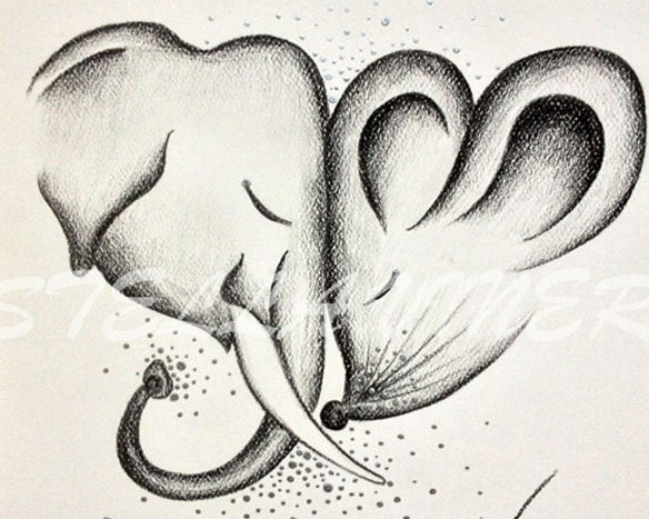 cute elephant and mouse drawing