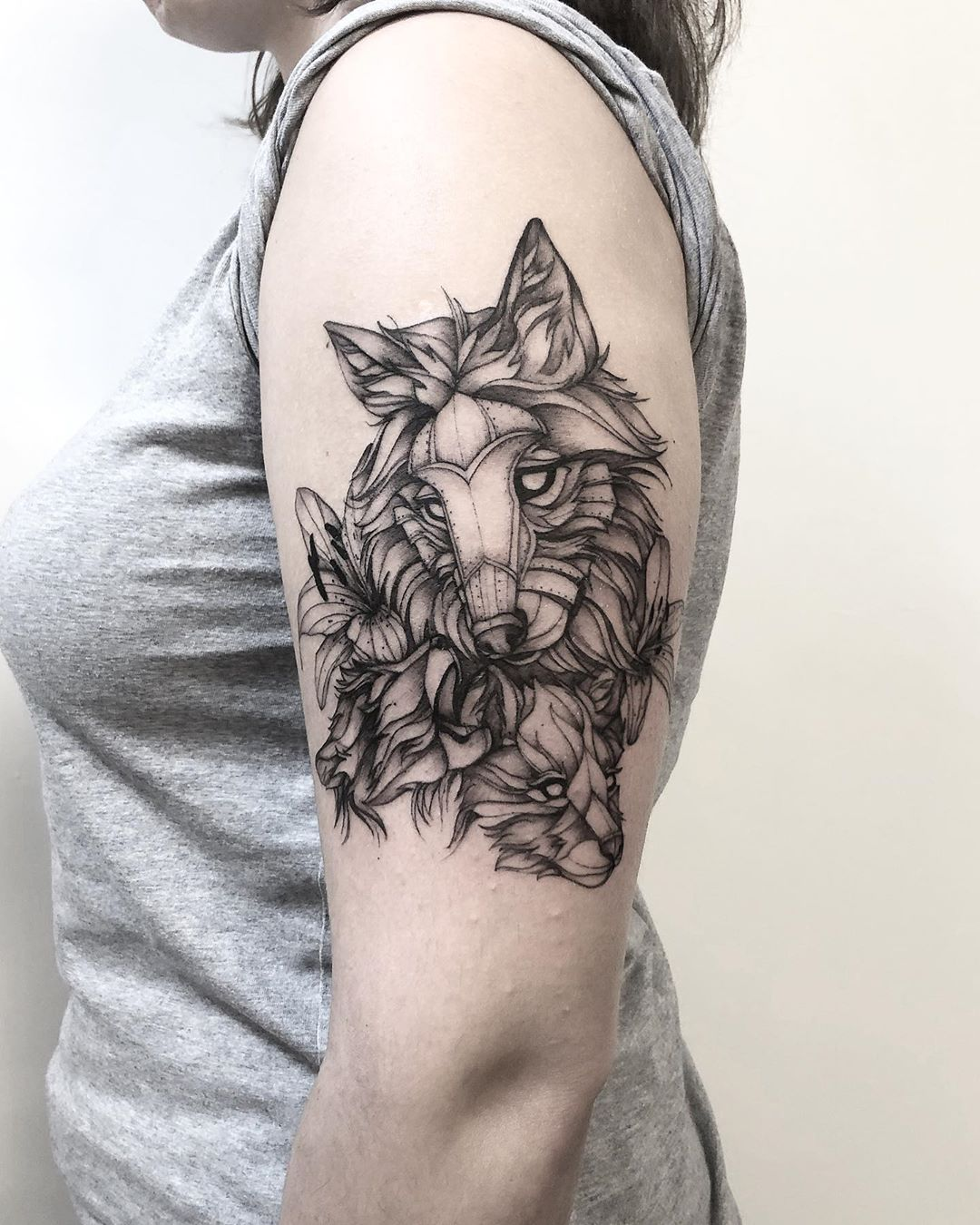 Tribal Wolf Chest and Shoulder Tattoo
