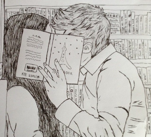 Couple Kissing Drawing in a Library