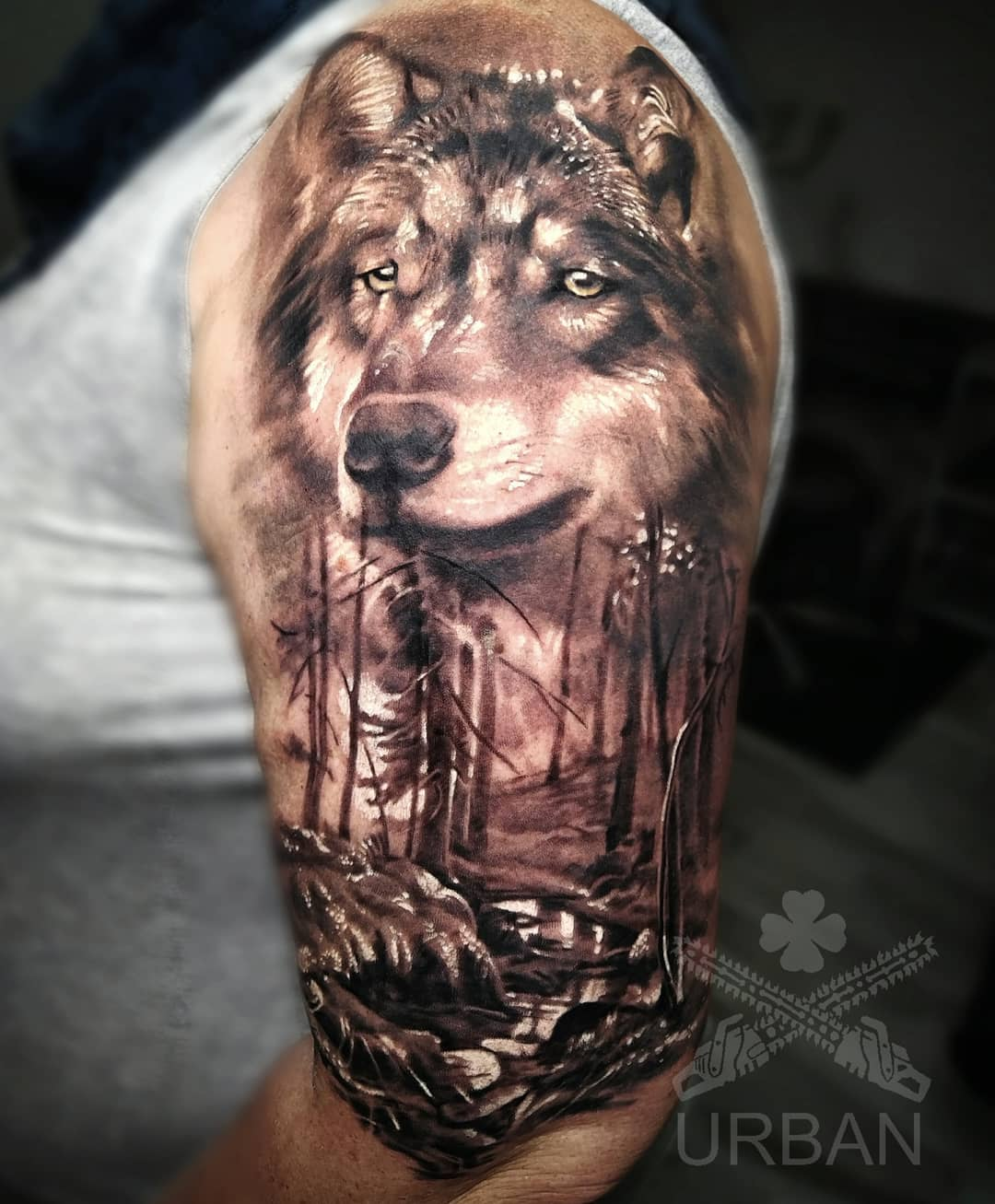 wolf tattoo geometric design