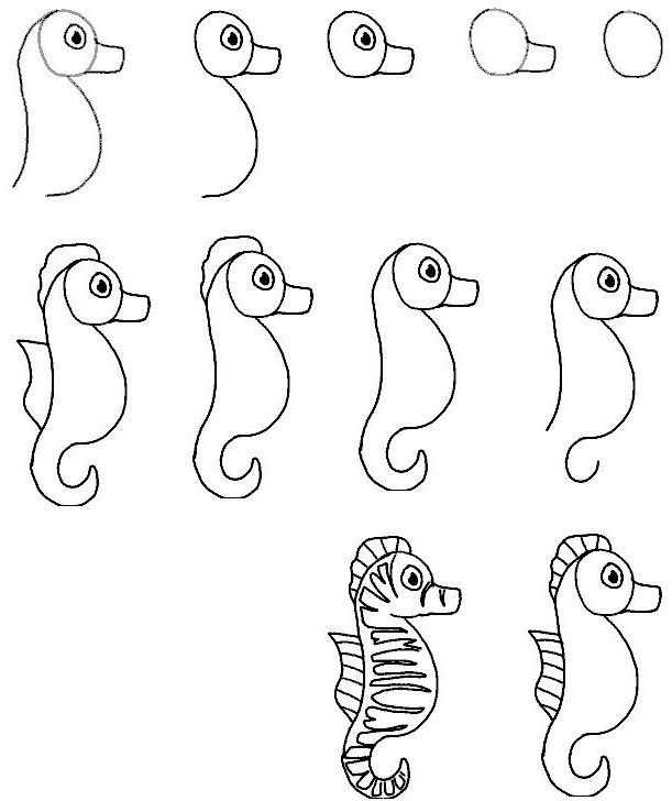 Easy Seahorse Drawings Step by Step - Colorful Seahorse Tattoo Designs
