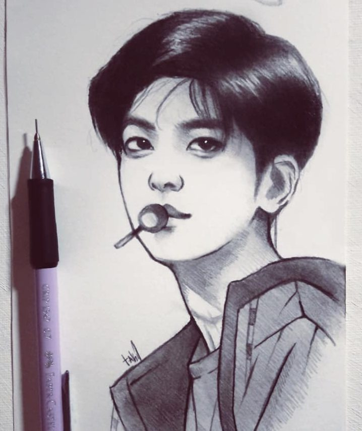 bts v drawing easy step by step