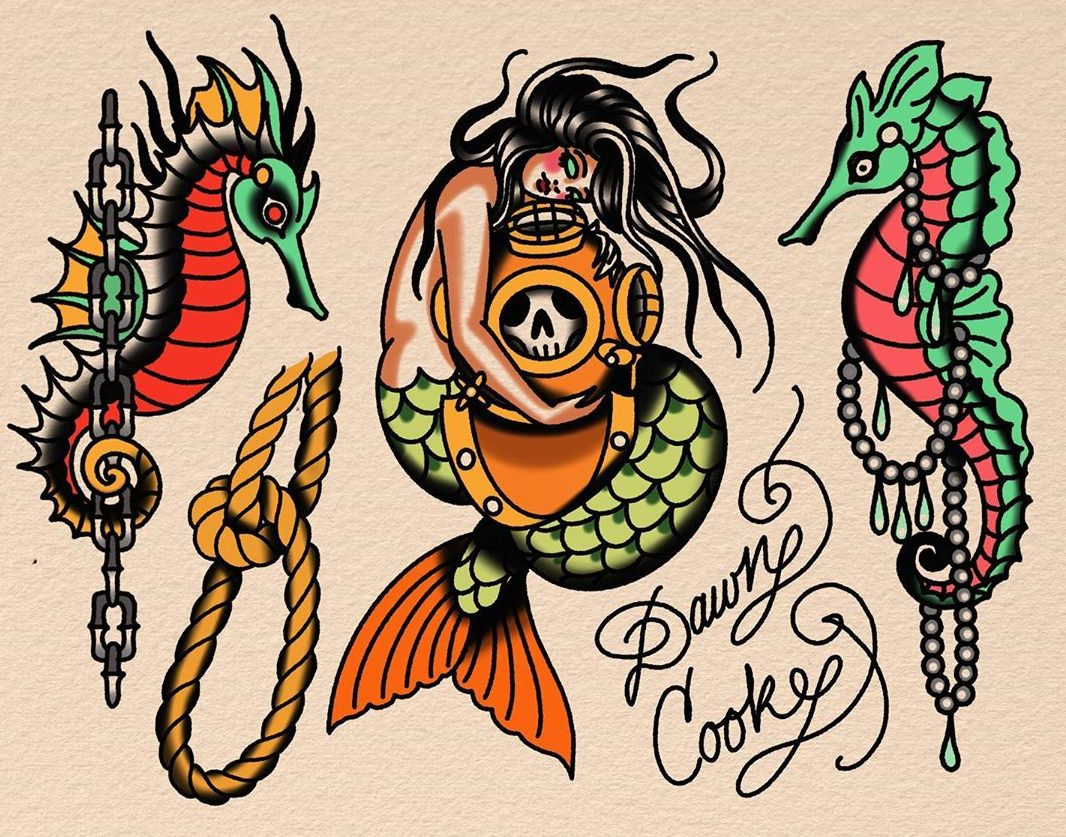 Seahorse Tattoo Designs Colorful 2020