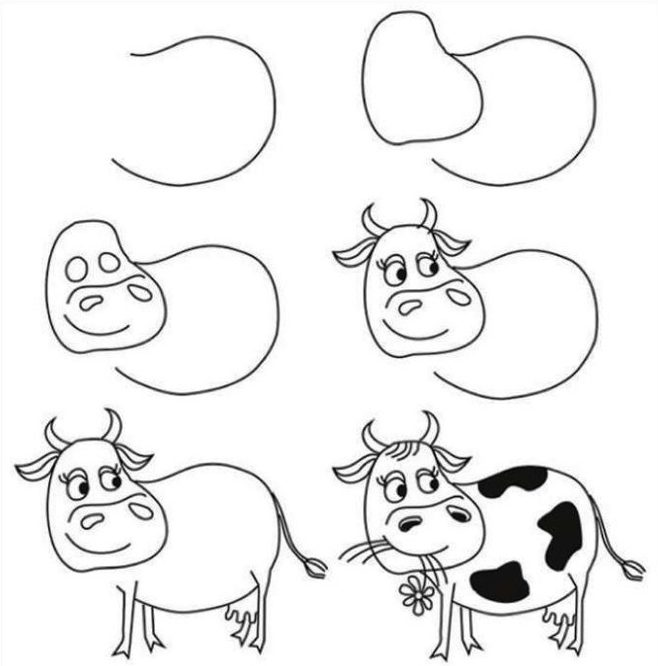 Cow drawing easy for kids step by step