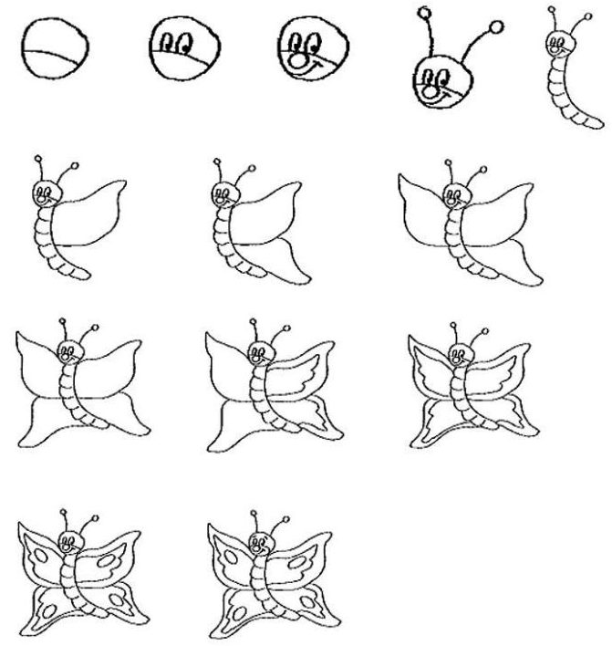 Cute butterfly drawing easy for kids