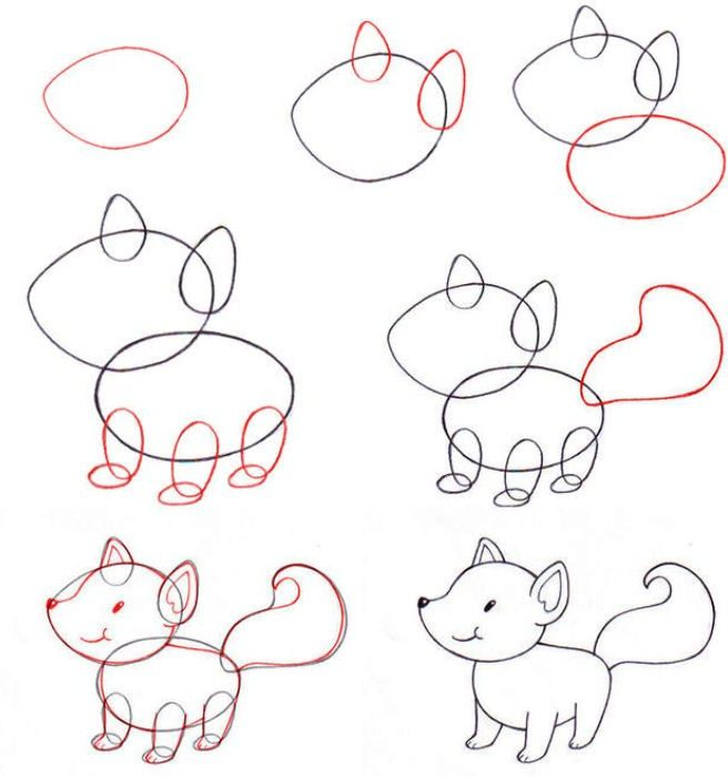 Cute fox drawing easy step by step