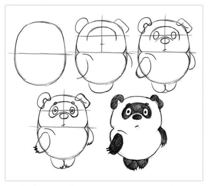 Cute panda drawing easy for kids