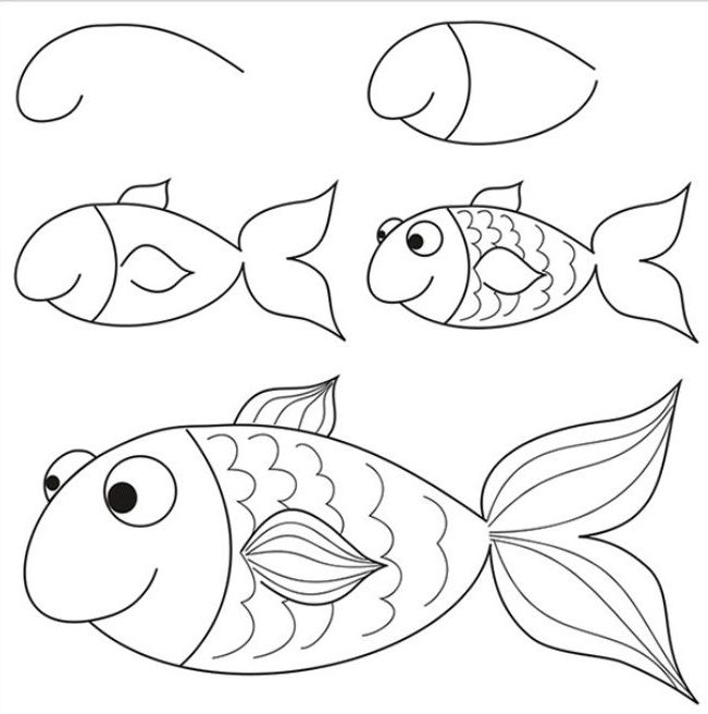 Fish drawing for kids step by step