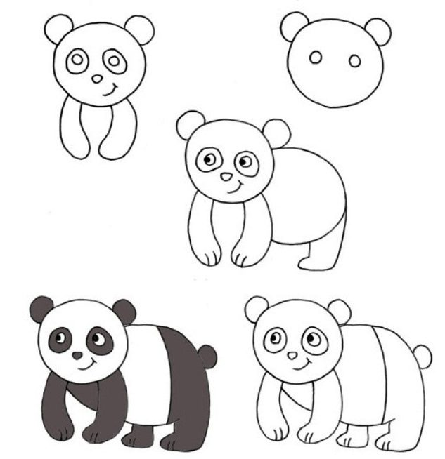 Panda drawing easy for kids