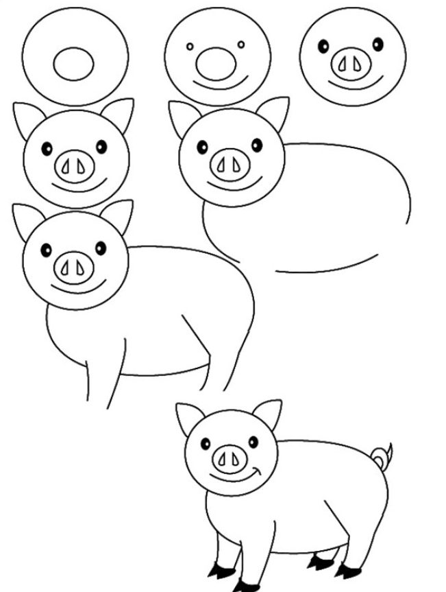 Pig drawing easy for kids step by step