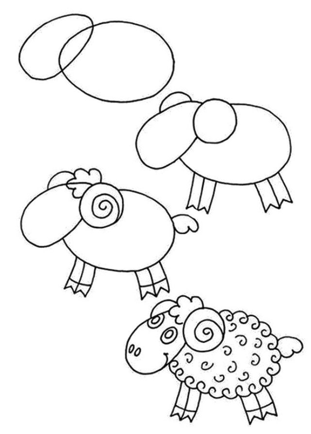Sheep drawing easy for kids step by step