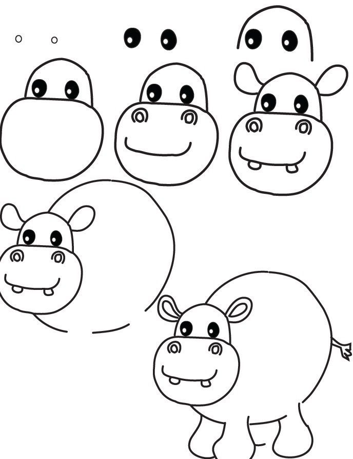 Step by step hippo drawing easy