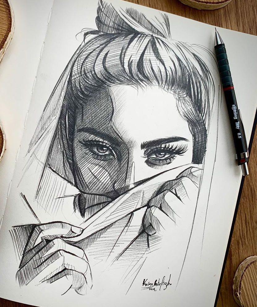 beautiful woman face drawing