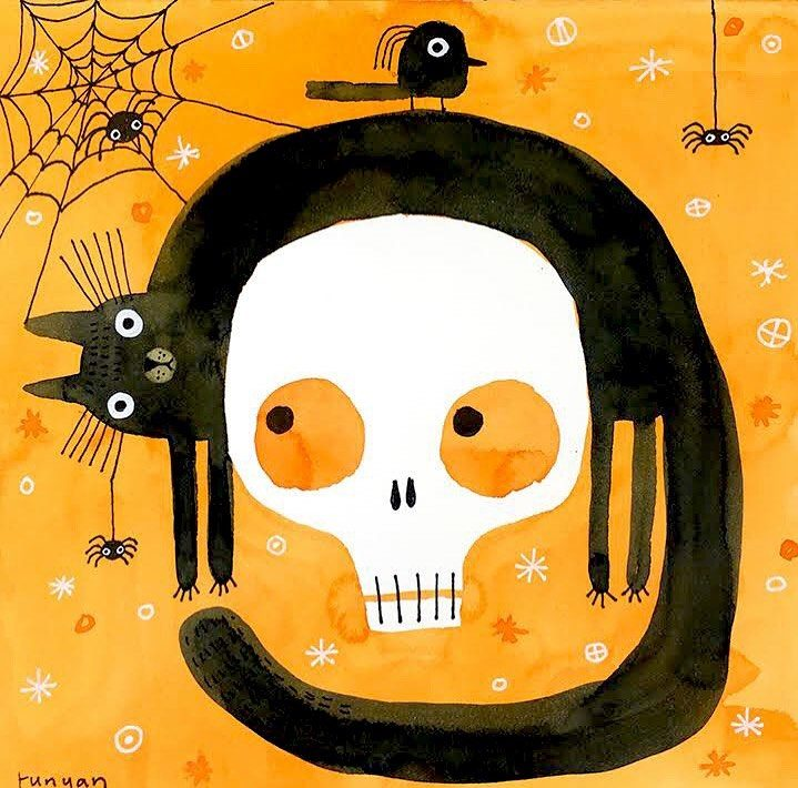 black cat illustration halloween