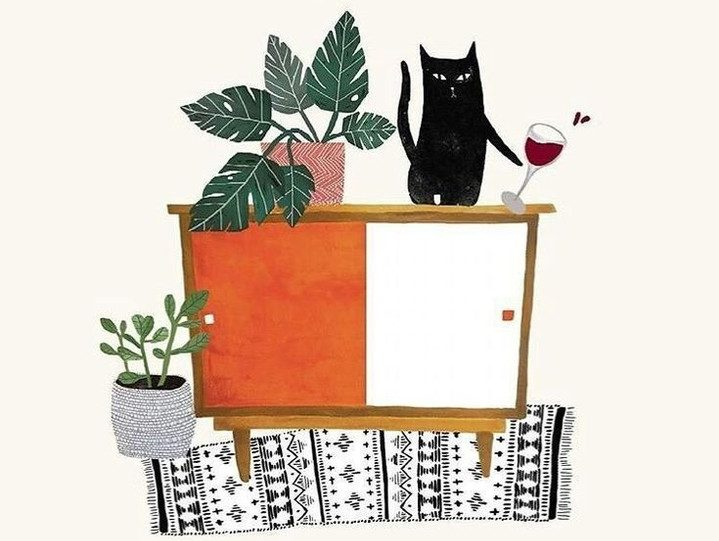 black cat illustration with wine
