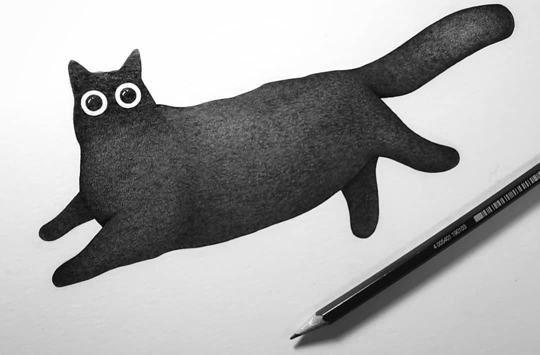 cat illustration black and white