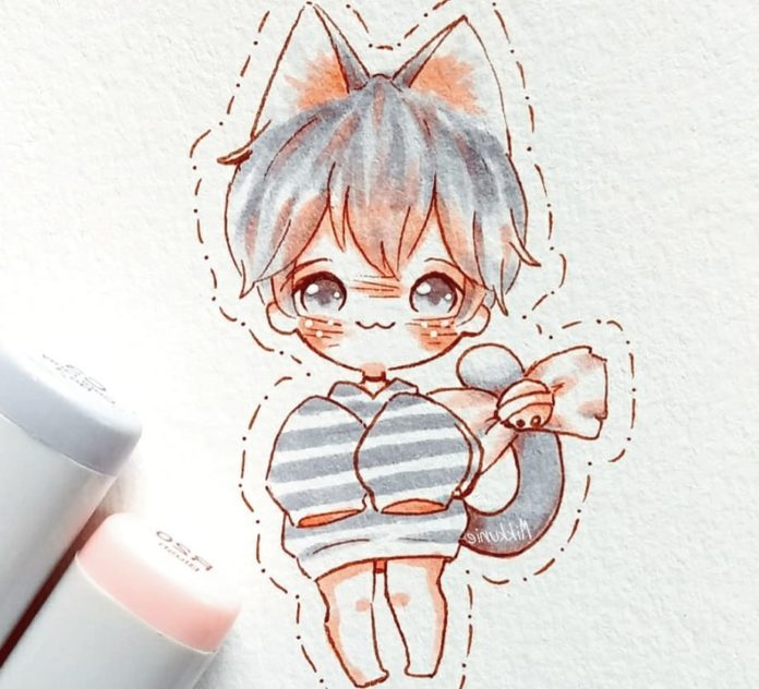 cute cat anime boy drawing easy step by step