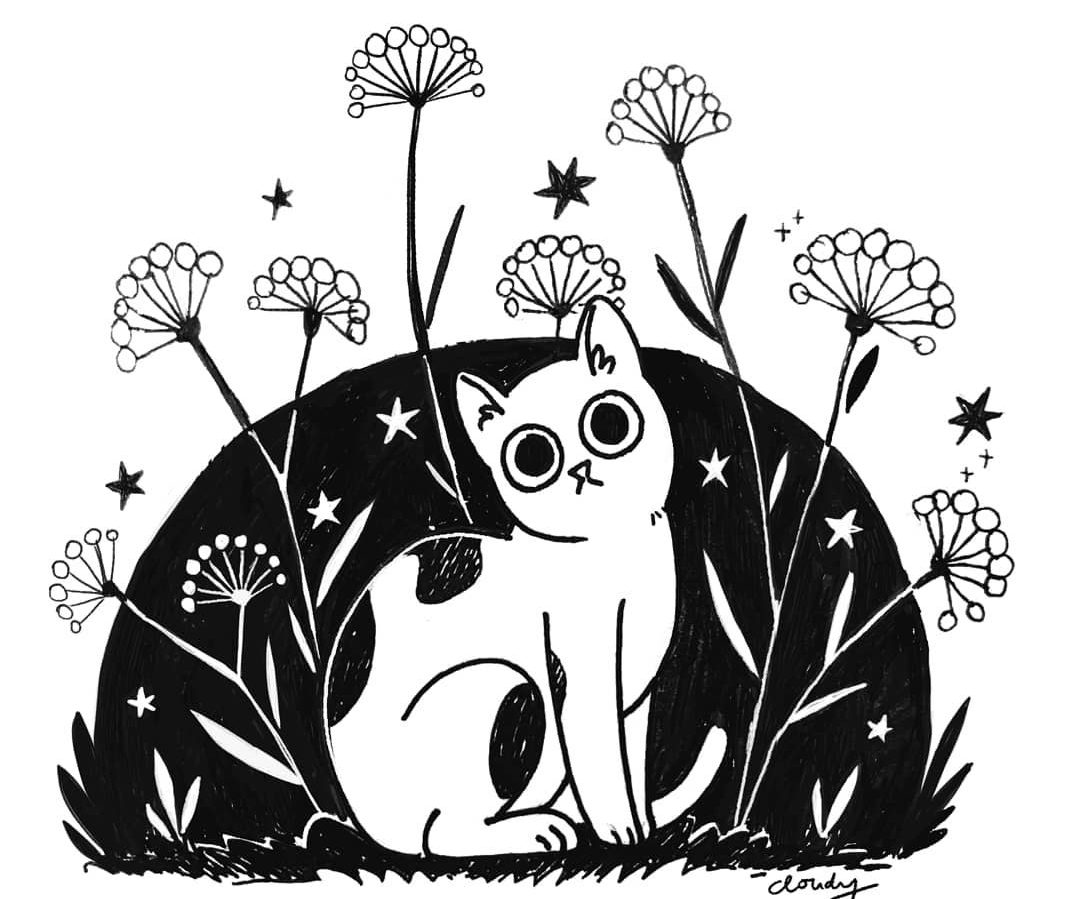 cute cat illustration black and white