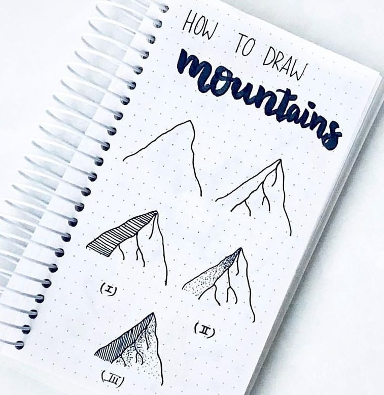 how to draw mountains bullet journal