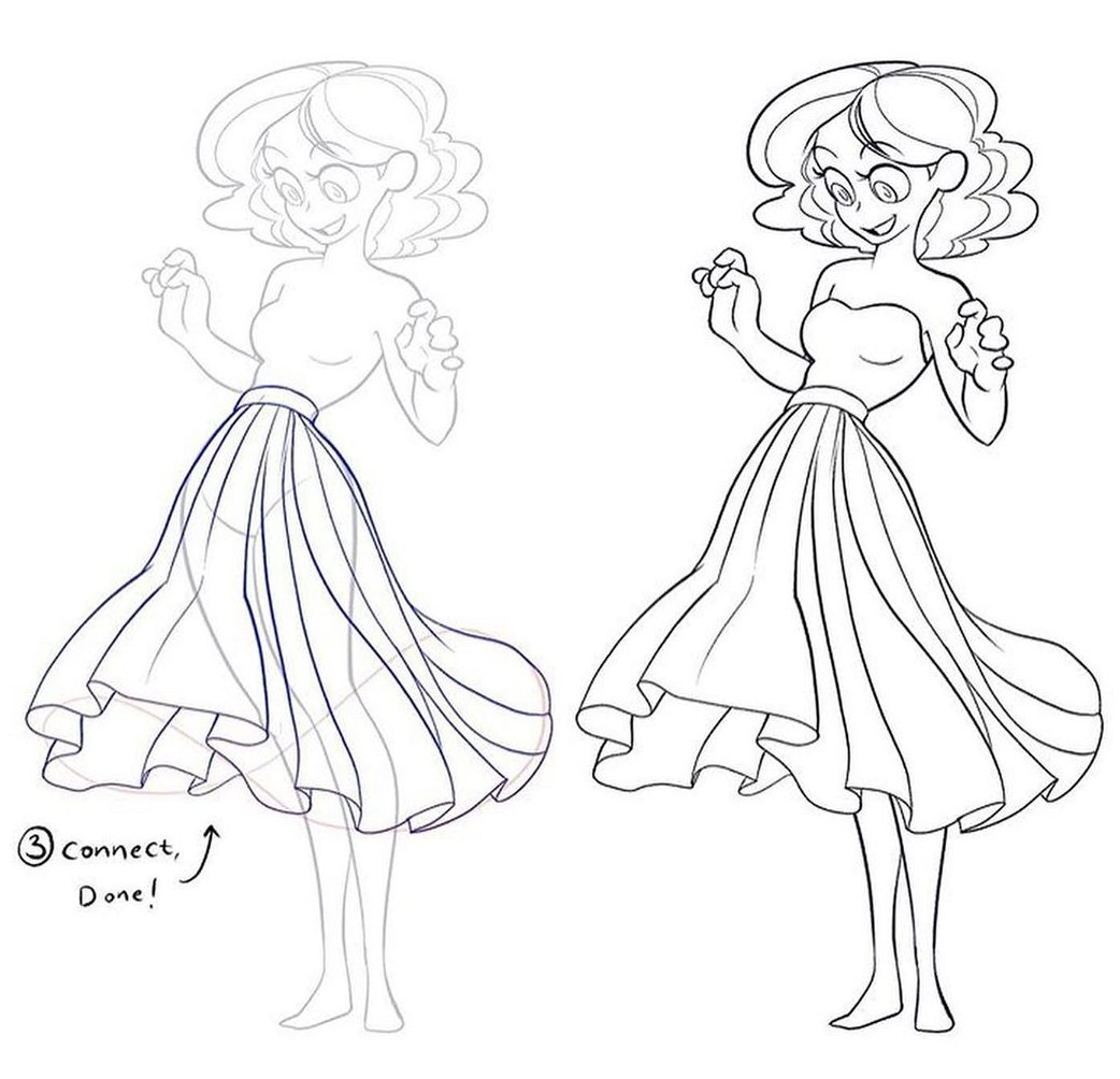 how to draw skirt and dresses tutorial