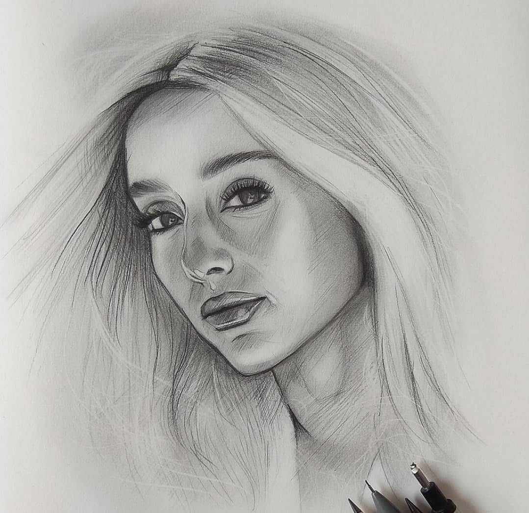 pencil sketch of woman face