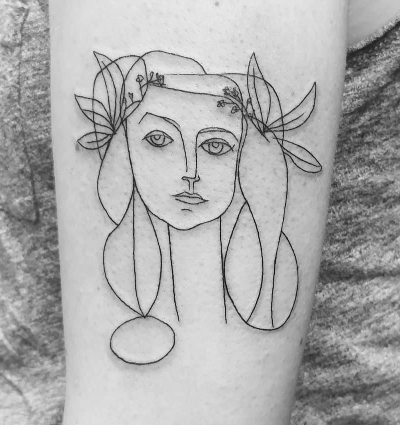 picasso drawing woman tattoo