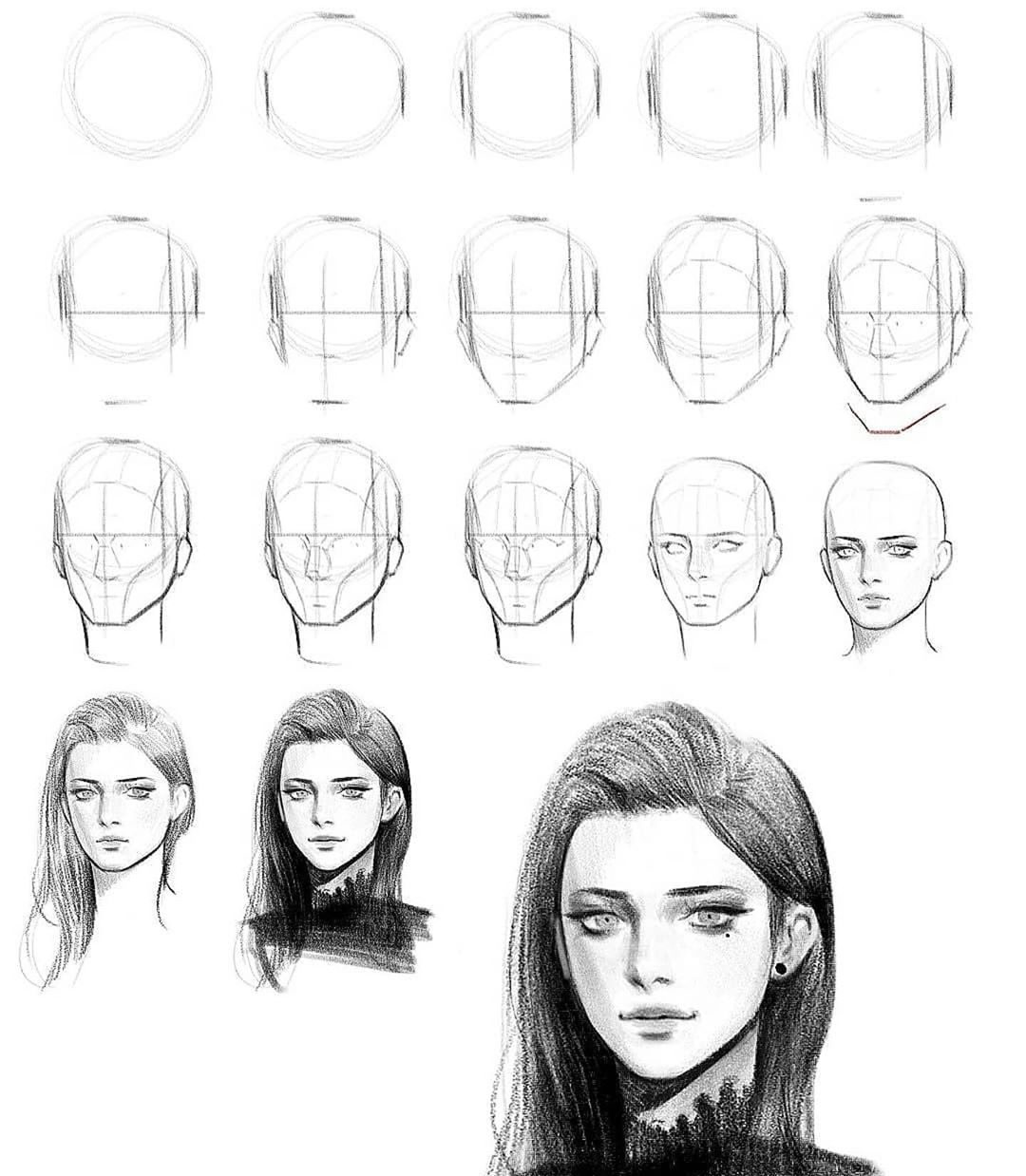 step by step woman face drawing