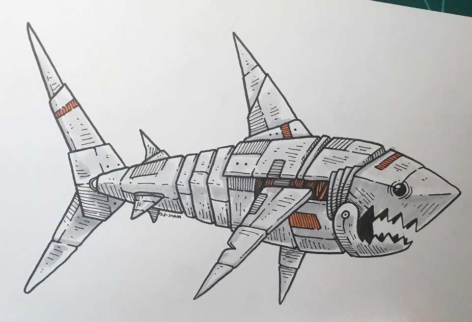 mechanical shark drawing