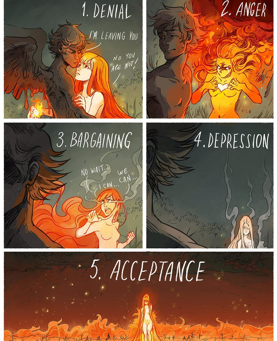 5 Stages of Grief comic drawing