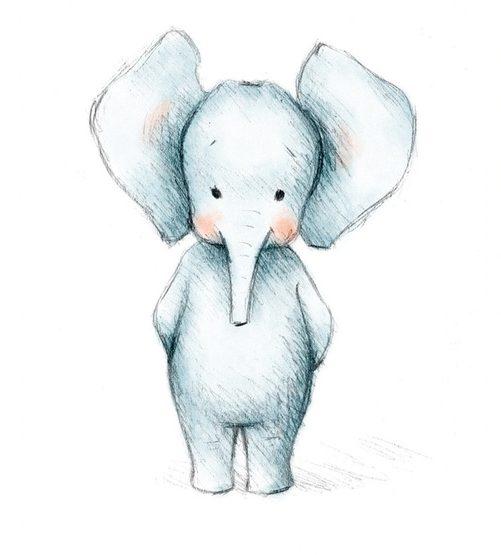 Cartoon baby elephant painting