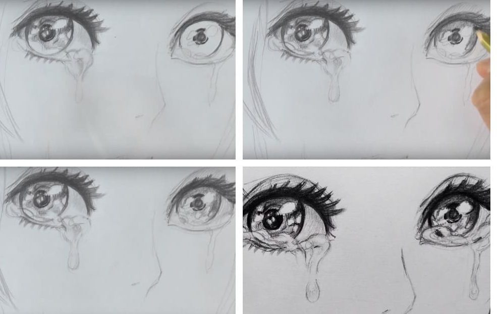 Crying eyes drawing anime step by step