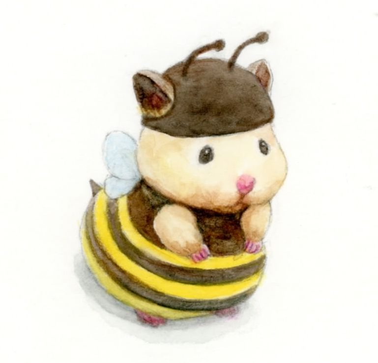 Cute Bee Hamster Drawing