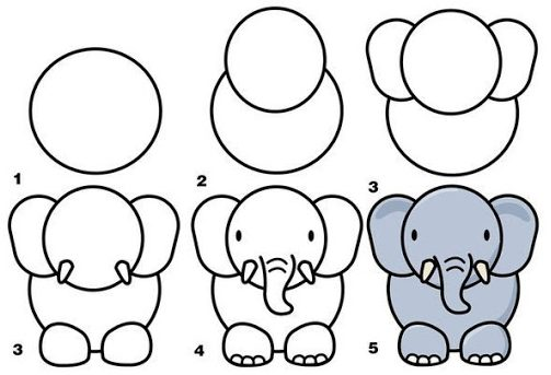 Cute Elephant Drawing for Kids