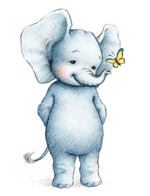 Cute baby elephant drawing