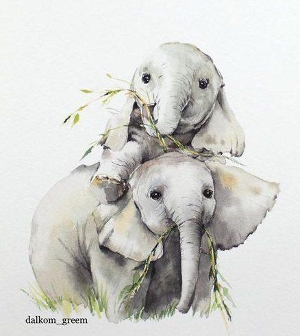 Cute baby elephant watercolor