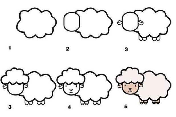 Cute sheep drawing for kids