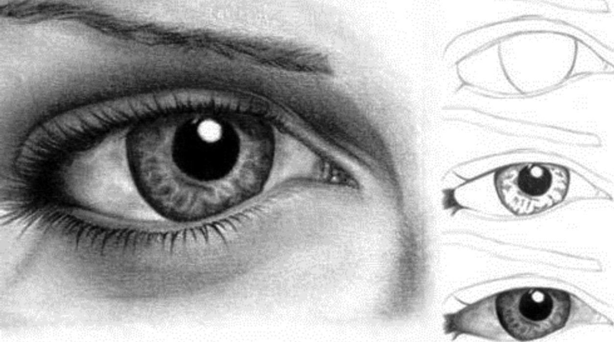 Drawing of eyes with tears step by step