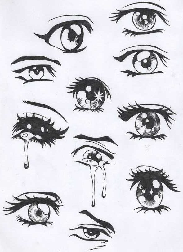 Drawings of eyes with tears step by step
