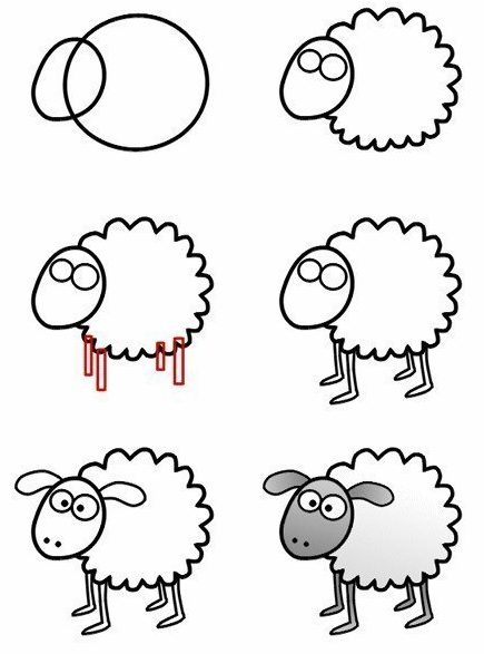 Easy sheep drawing for kids