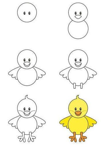 How to draw a chick step by step