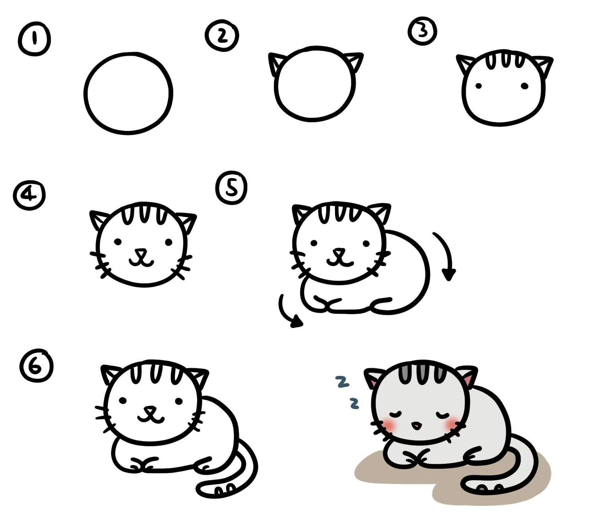 How to draw easy cat cartoon step by step